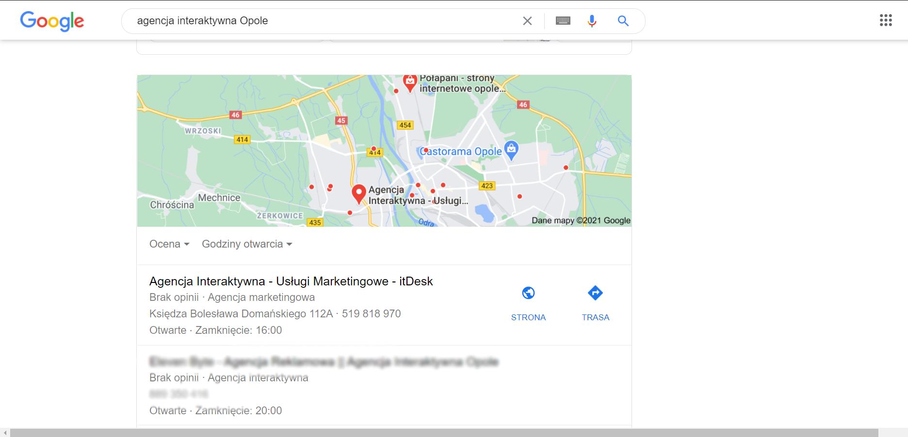 Wyniki wyszukiwania agencji marketingowej w Google Maps