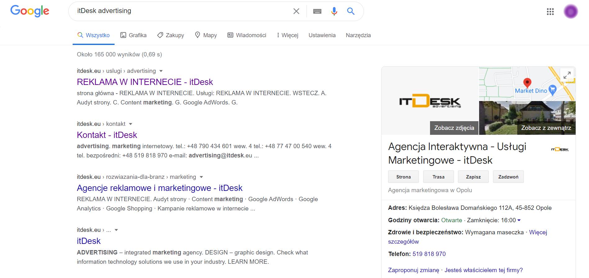 Wyniki wyszukiwania agencji marketingowej